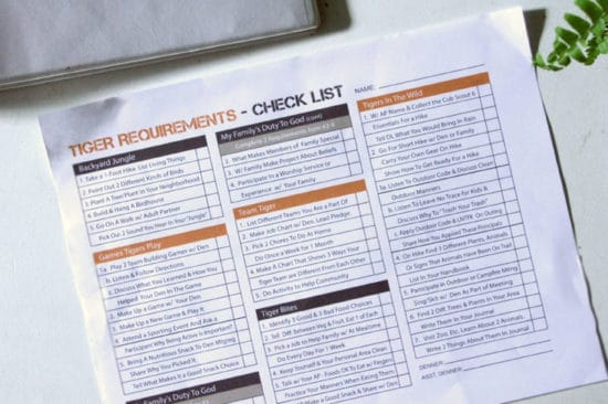 Tiger Cub Scouts Requirement Tracking Worksheet Ultimate