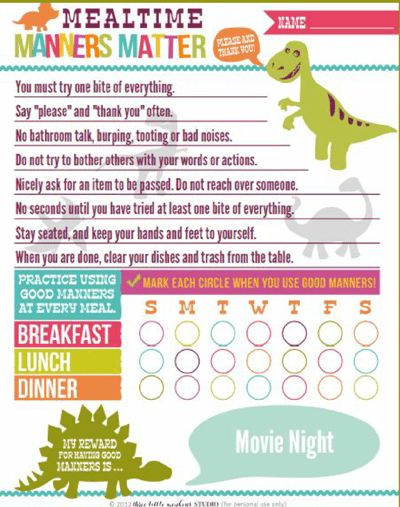 mealtime manners chart reward-kids free printables freebie