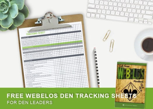 free printable for organizing cub scouts - webelos den tracking sheet - ultimatescouts.com