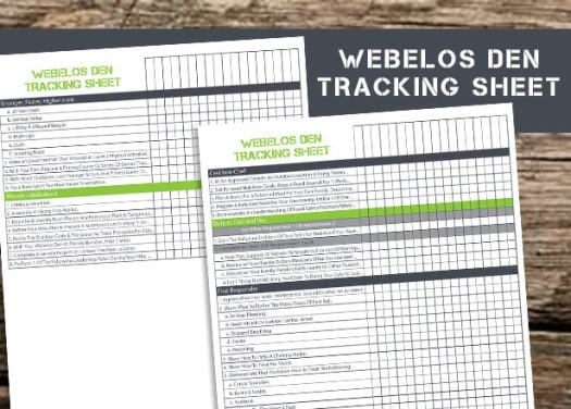 Free Printable to help Webelos Den Leaders save time and be organized.
